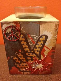 """""""Free Shipping""""  4th of July Memorial Day Vintage Inspired hand embellished Votive holder by HaileyHarrison  ... $9.99"""
