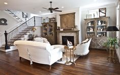 stair, living rooms, floor, slipcovers, family rooms, farmhouse style, live room, french farmhouse living room, decor idea