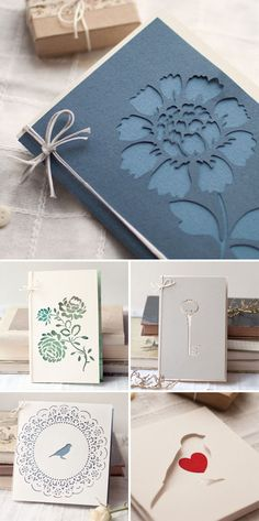 Papercut Cards by Mimimi...elegant with tonal backing to the negative space...