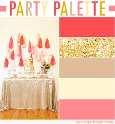 Party Palette: Coral   Glittery Gold