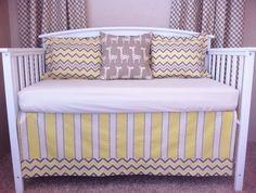 So cute! crib bedding, boy nurseri, nurseri inspir, yellow, cribs, nurseri idea