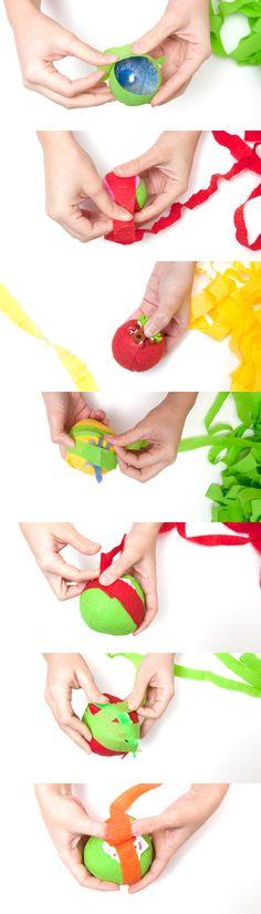 DIY orange surprise balls from Making Mondays balls, oranges, wrapingsurprisebal