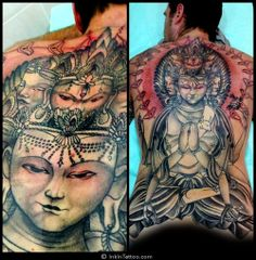 Phenomenal full back spiritual tattoo from In Ink Tattoo Studio located in Spain.  http://instagram.com/p/XdhurLi27i/