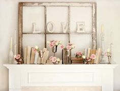 Vintage Love...Mantle decor for February!