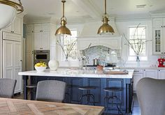 Santa Barbara Design House and Gardens Showhouse | Kitchen designed by Mary McDonald featuring the Country Industrial Pendants over the island.