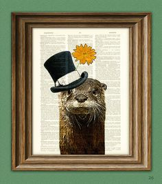 The River Gentleman OTTER with a top hat and by collageOrama, $6.99