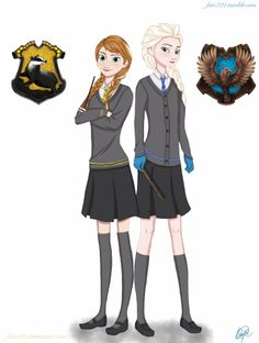Frozen Hogwarts AU: Anna in Hufflepuff and Elsa in Ravenclaw