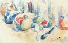 Paul Cézanne  Still Life with cut Watermelon, ca. 1900  Watercolour and pencil  Fondation Beyeler