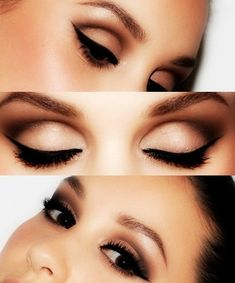 "The ""Adele"" Eye -- I want to try this.. Light cut crease with a strong liner and lashes."