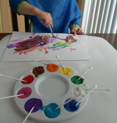 Q-Tip Painting. GREAT for developing tripod grasp with preschoolers and up.