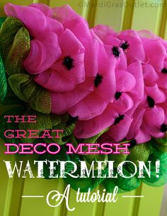 summer crafts, photo tutorial, door hangings, summer deco, craft projects, watermelon, spring wreaths, deco mesh wreaths, summer wreath