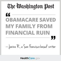 Janine Reid, in a Washington Post Op-Ed, says that #Obamacare saved her family from financial ruin.