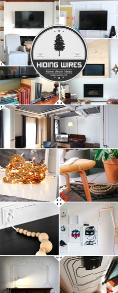 Creative Ideas: How To Hide Cords and Wires. || Simple and heavy duty ideas for hiding your TV wires, lamp cords, and wires on the wall or on the floor. There are also some ideas on how to embrace and turn wires into decor pieces (ie. use copper pipes) Hiding Cords On Wall, Hide Cords Tv, How To Hide Cable Cords