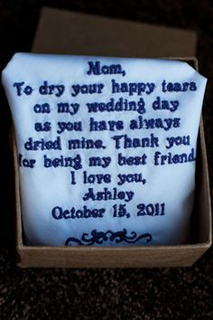 Great gift for mother of the bride.