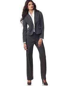 Anne Klein One Button Jacket, Long Sleeve Shirt & Classic Pants - Suits & Suit Separates - Women - Macys