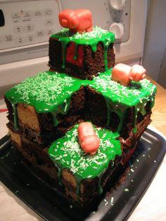 DIY: Minecraft Terrain Block Cake #geek #games