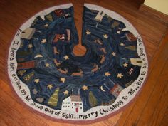 """""""Christmas in New England"""" Christmas tree skirt hooked rug - pattern at www.theoldtatteredflag.com"""