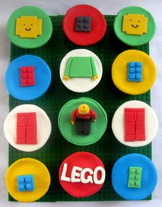 Lego cupcakes on a lego board! What a darling party