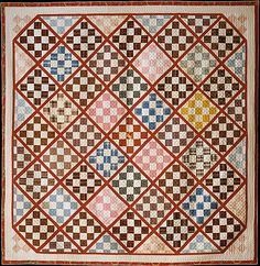 Quilt, Nine Patch pattern variation,  Rebecca Davis,  Date: ca. 1846. his pieced quilt is patterned with Nine Patch blocks within a diamond-shaped grid. The sashing is of red calico, and theblocks are pieced from various multicolored and patterned fabrics. The back is of plain white woven cotton, and the quilt is filled with cotton batting. Except for feather quilting in the inner white border, the piece is diamond quilted overall.