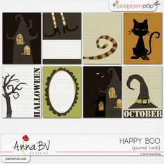 Happy Boo Collection Free Project Life Journaling Card Set   [ One Velvet Morning ]