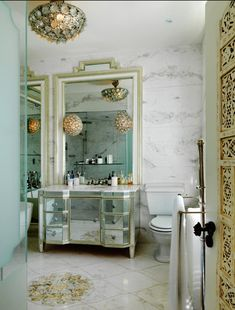 amazing light fixtures & mirrored surfaces
