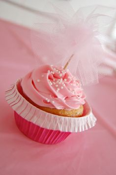 Tulle cupcake toppers!!!!! So cute!