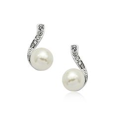 Charming Ivory Simulated Pearl with Post Back Earrings