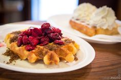 Waffles with Sour Cherries and Brown Sugar