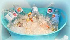 sea water, birthday parties, birthday idea, urijah parti, bottl label