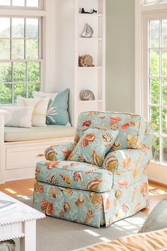 Chair Upholstered with sea life fabric.  More ideas on Completely Coastal: http://www.completely-coastal.com/2012/06/upholstering-chair-coastal-style.html