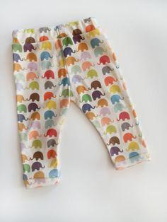 Newborn Baby Leggings Bright Elephant Print by littlehipsqueaks on etsy