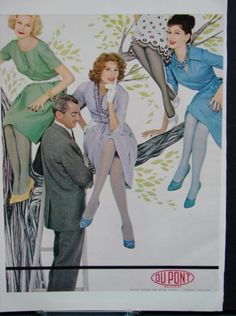 Sunny Harnett, Suzy Parker and Dovima show off their shapely gams in tinted nylon hosiery in this vintage DuPont ad.