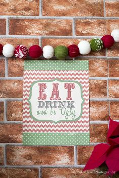 Love the sweater ball banner at an Ugly Sweater Christmas party!  See more party ideas at CatchMyParty.com!  #partyideas #christmas