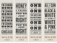 graphic design, lyric, rock posters, letter, gig poster, wilco, type, honey, typographi