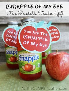 Snapple Of My Eye - Free Back to School Printable Teacher Gift Idea