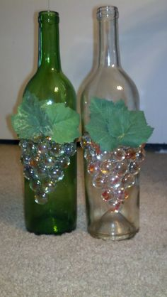 "Wine Bottle Lamps - use orange beads for longhorn?  to glue on use ""Quick Grip Glue"" from a craft store"