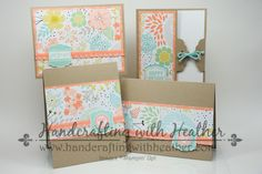 handmade card set ... kraft with Sweet Sorbet DSP ... pretty pastels that enhance the kraft ... luv the cantelope ribbons and mats  ... Stampin'Up!