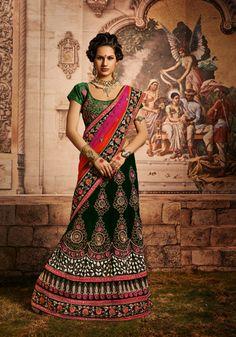 USD 221.18 Green Net Embroidered Wedding Lehenga Saree  34087