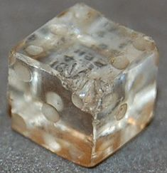 Rock crystal dice, marked one to six. 1st-2nd Century AD. Roman Imperial Period. via the British Museum.