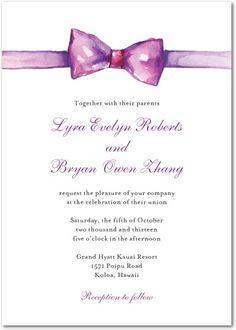 Painted purple bow wedding invitation