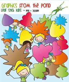 Fall / Autumn Leaf Stick Kids - Clipart for Teaching