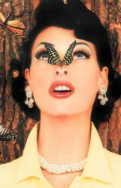vintag, face, colour photographi, fashion, supermodel style, butterflies, linda evangelista, inspir, beauti
