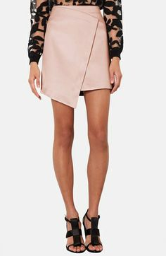 Topshop Faux Wrap Satin Skirt available at #Nordstrom