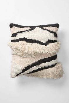 fluffy stripey B&W pillow
