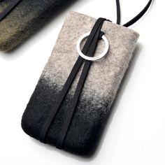 smartphon felt, felt pouch, smartphon pouch, pouch gray, felt pendant