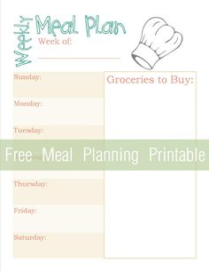 Get Organized with a Free Meal Planning Printable