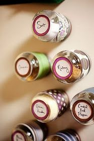 Turn empty baby food jars into magnetic spice jars!