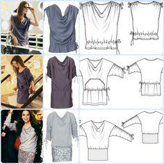 Dos vestidos y una blusa en un solo patrón.  EL BAÚL DE LAS COSTURERAS: Varios modelos con un solo molde