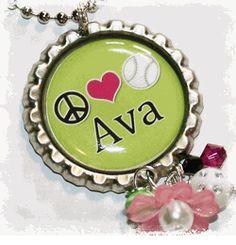 Peace, Heart, Softball Lime Name Bottlecap Necklace