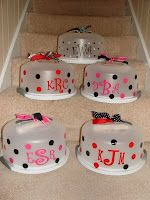 Personalized Cake Carriers- add a cake mix, serving knife. -cute idea for christmas gifts